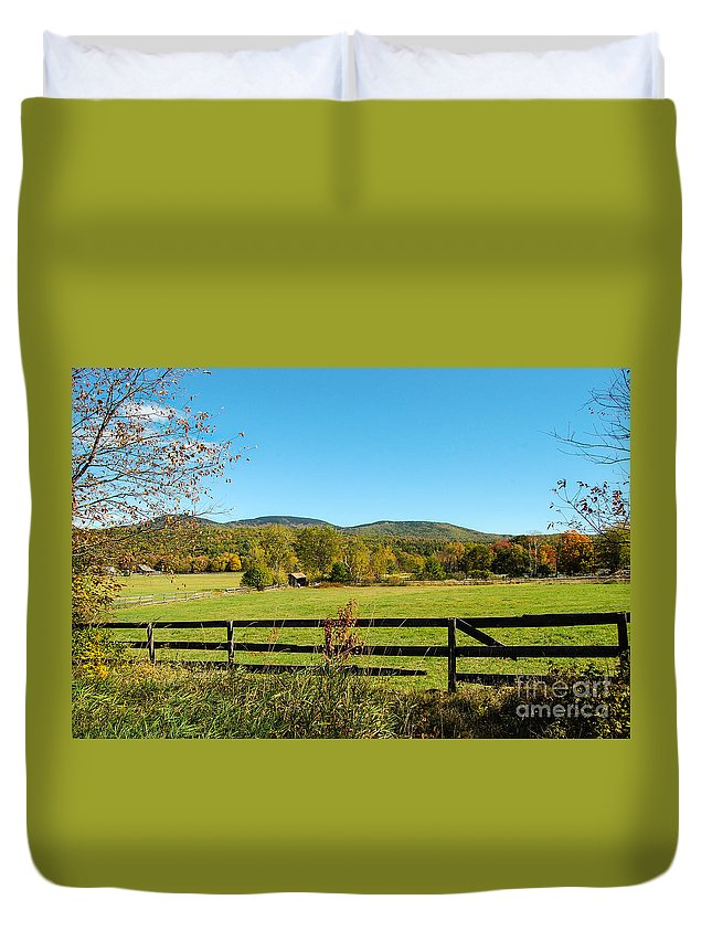 Gilford Duvet Cover featuring the photograph Young And Swain Road, Gilford N H by Mim White