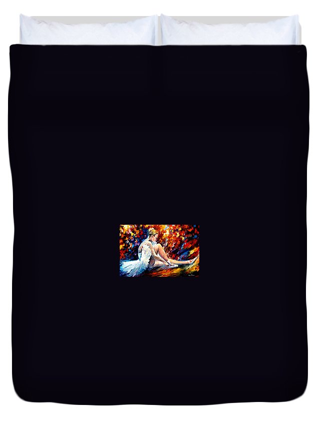 Dancer Duvet Cover featuring the painting Young Ballerina by Leonid Afremov
