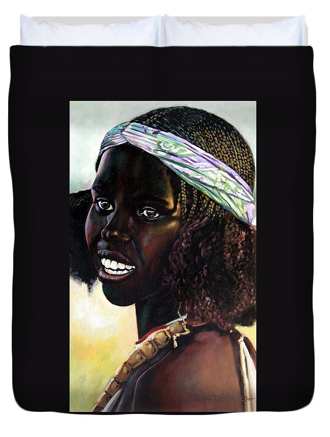 Young Black African Girl Duvet Cover featuring the painting Young Black African Girl by John Lautermilch
