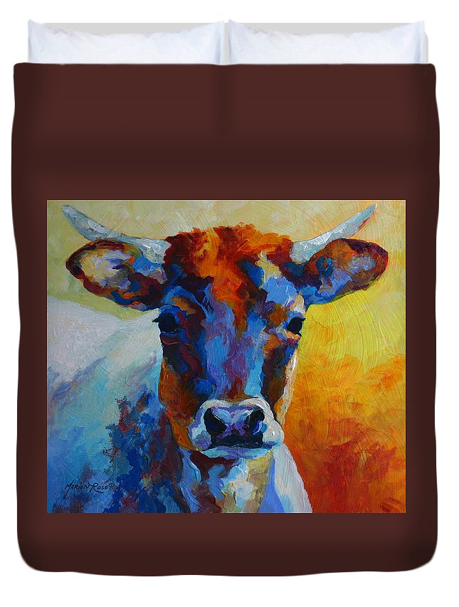Western Duvet Cover featuring the painting Young Blood - Longhorn by Marion Rose