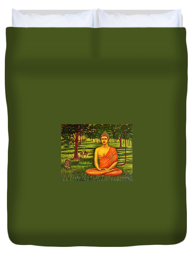 Young Duvet Cover featuring the painting Young Buddha Meditating In The Forest by Usha Shantharam