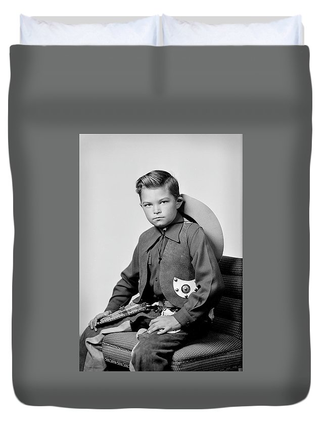 Cowboy Duvet Cover featuring the photograph Young Cowboy Sitting by Seely Studio