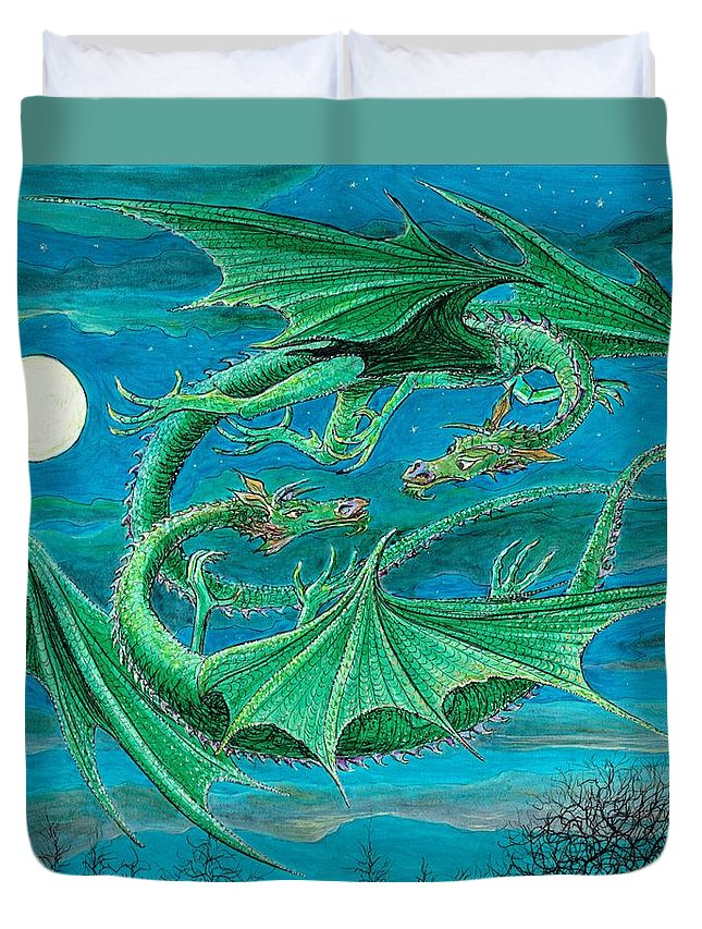Dragon Imagination Blue Green Sky Night Child Children Fantasy Moon Moonlight Moonlit Duvet Cover featuring the painting Young Dragons Frisk by Charles Cater