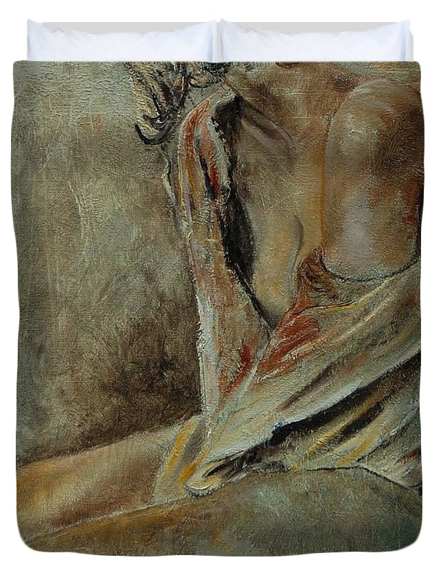 Gir Duvet Cover featuring the painting Young Girl 45905040 by Pol Ledent
