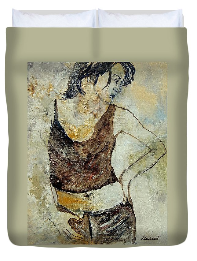 Nude Duvet Cover featuring the painting Young Girl 459070 by Pol Ledent