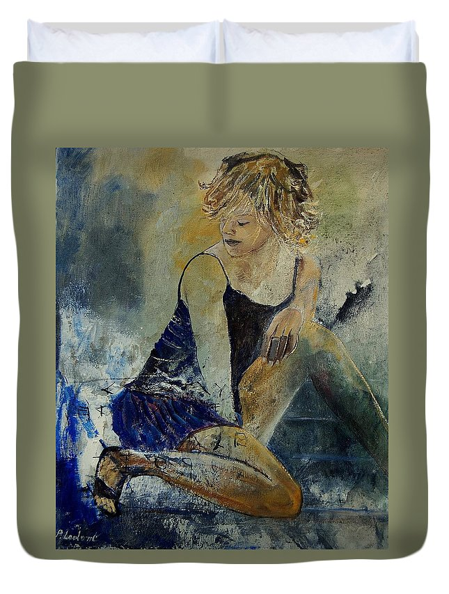 Nude Duvet Cover featuring the painting Young Girl 5689474 by Pol Ledent