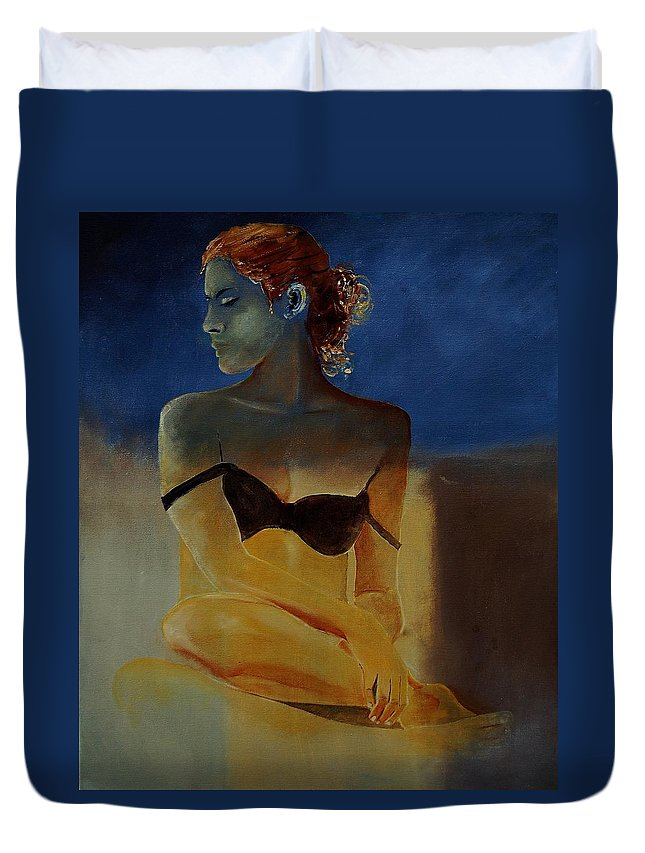 Gir Duvet Cover featuring the painting Young Girl 56902140 by Pol Ledent