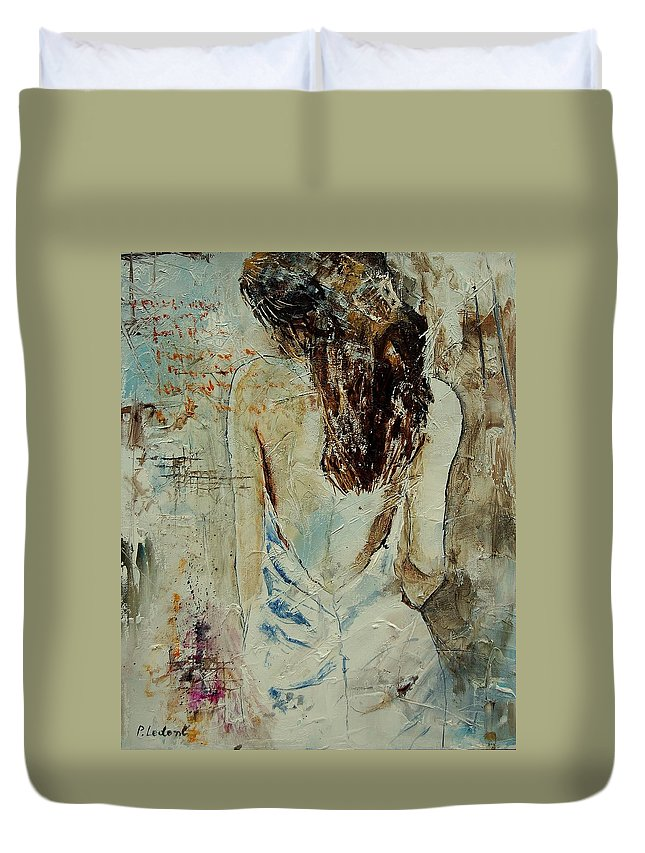 Nude Duvet Cover featuring the painting Young Girl 64 by Pol Ledent