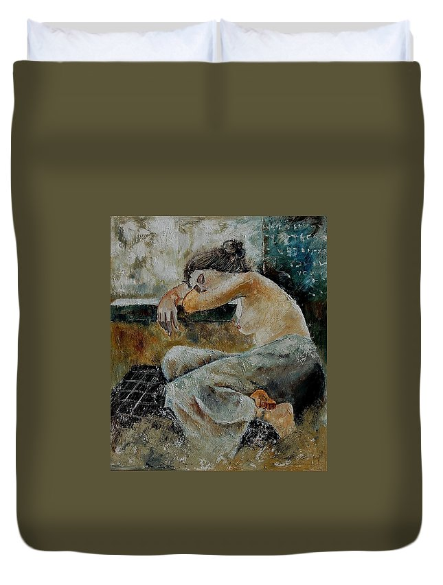 Girl Duvet Cover featuring the painting Young Girl 679050 by Pol Ledent