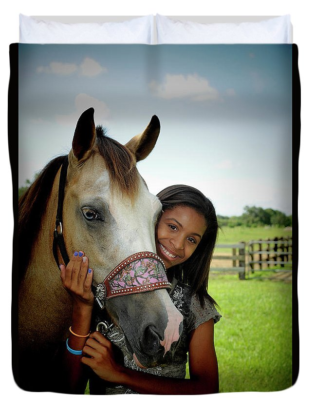 Girl Duvet Cover featuring the photograph Young Girl And Her Horse by Keith Lovejoy