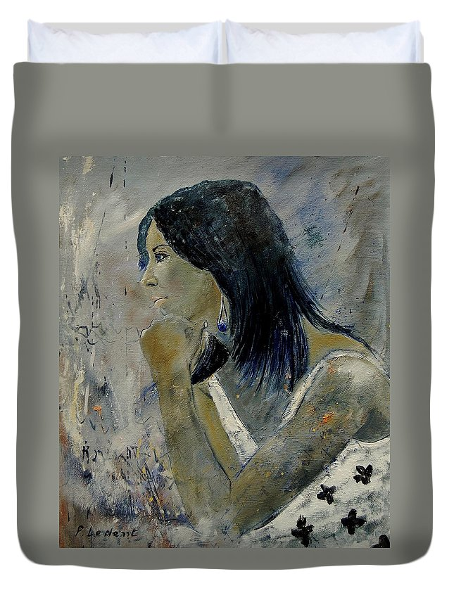Girl Duvet Cover featuring the painting Young Girl Eg569090 by Pol Ledent