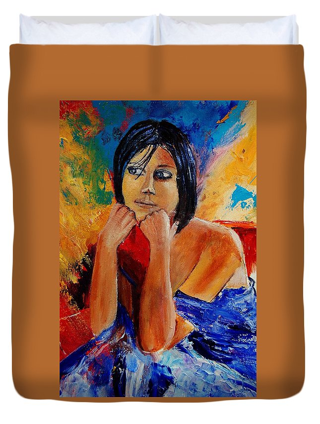 Girl Duvet Cover featuring the painting Young Girl Eg9011 by Pol Ledent