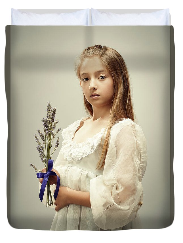 Young Duvet Cover featuring the photograph Young Girl Holding Lavender by Amanda Elwell