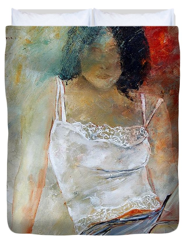 Nude Duvet Cover featuring the painting Young Girl Sitting by Pol Ledent