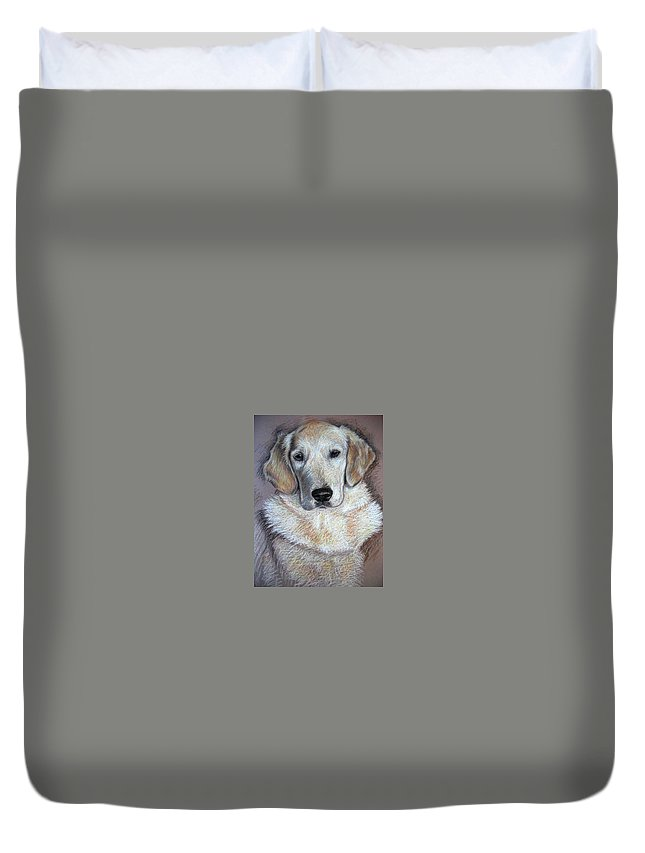 Dog Duvet Cover featuring the pastel Young Golden Retriever by Nicole Zeug