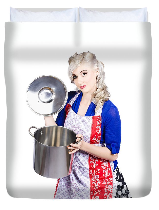 Woman Duvet Cover featuring the photograph Young Housewife Lifting Lid On A Home Cooking Pot by Jorgo Photography - Wall Art Gallery