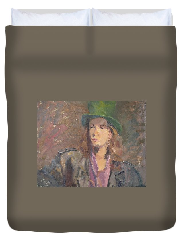 Young Man Irish Green Hat Portrait Figurative Long Hair Coat Duvet Cover featuring the painting Young Irish Man by Irena Jablonski