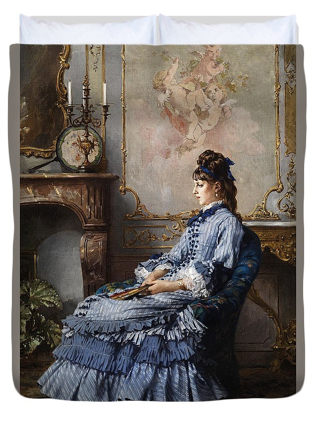 Frederik Hendrik Kaemmerer Duvet Cover featuring the painting Young Lady At The Fireplace by Frederik Hendrik Kaemmerer