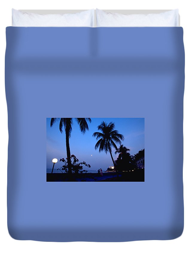 Full Moon Duvet Cover featuring the photograph Young Lovers In Penang by Michael Mogensen