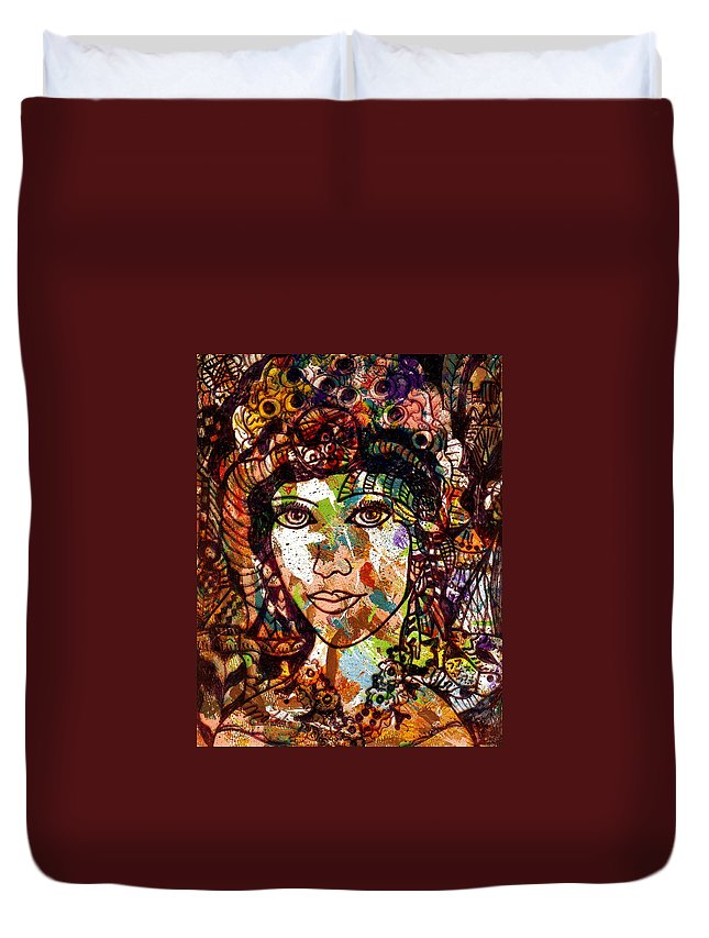 Female Duvet Cover featuring the painting Young Maiden by Natalie Holland