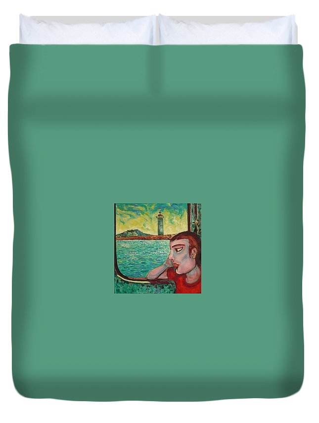 Window Duvet Cover featuring the painting Young Man In A Window by Ericka Herazo