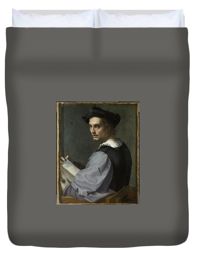 Andrea Del Sarto Duvet Cover featuring the painting Young Man by MotionAge Designs