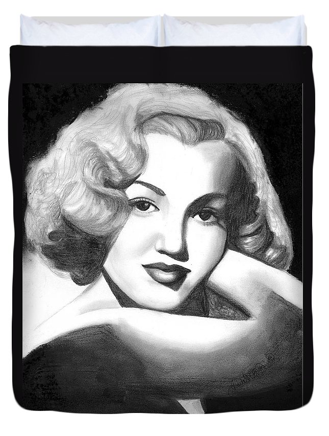 Portrait Duvet Cover featuring the drawing Young Marilyn by Scarlett Royal