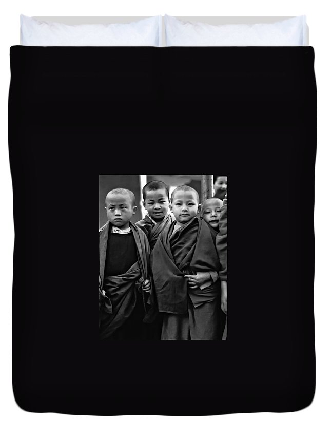 Buddhism Duvet Cover featuring the photograph Young Monks II Bw by Steve Harrington