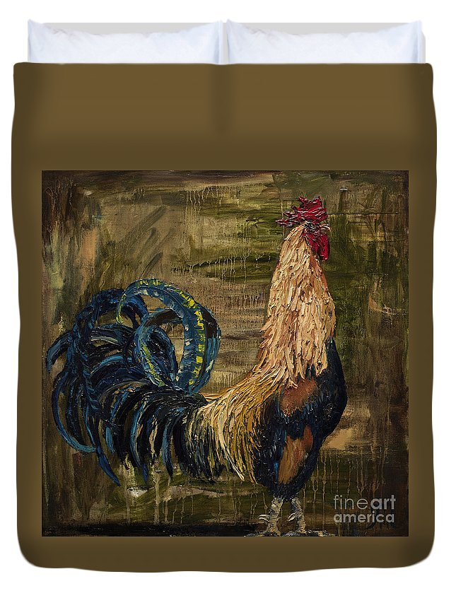 Rooster Oil Painting Duvet Cover featuring the painting Young Rooster by Jodi Monahan