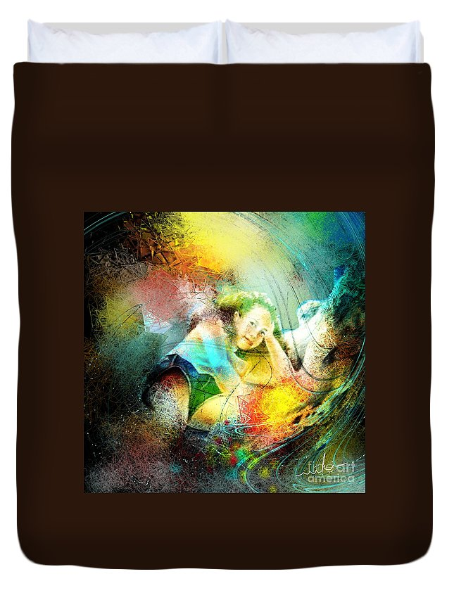 Nature Duvet Cover featuring the painting Young Seduction by Miki De Goodaboom