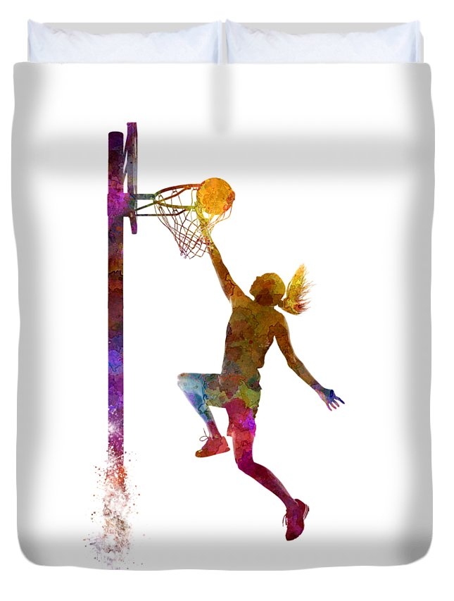 Young Woman Basketball Player In Watercolor Duvet Cover featuring the painting Young woman basketball player 04 in watercolor by Pablo Romero