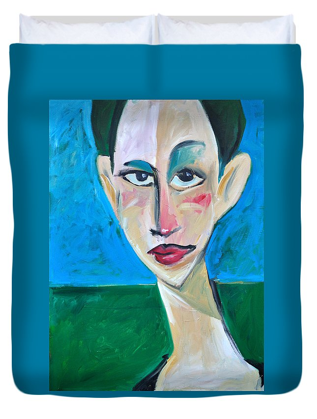 Woman Duvet Cover featuring the painting Young Woman Green Field by Tim Nyberg