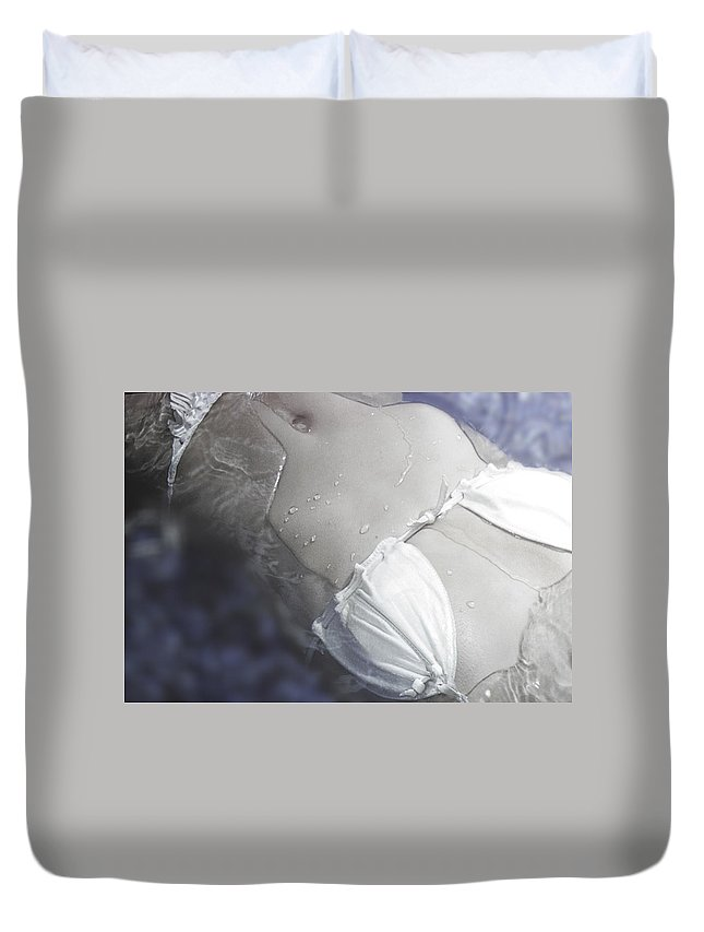 Female Duvet Cover featuring the photograph Young Woman in Whirl Pool by Christine Till