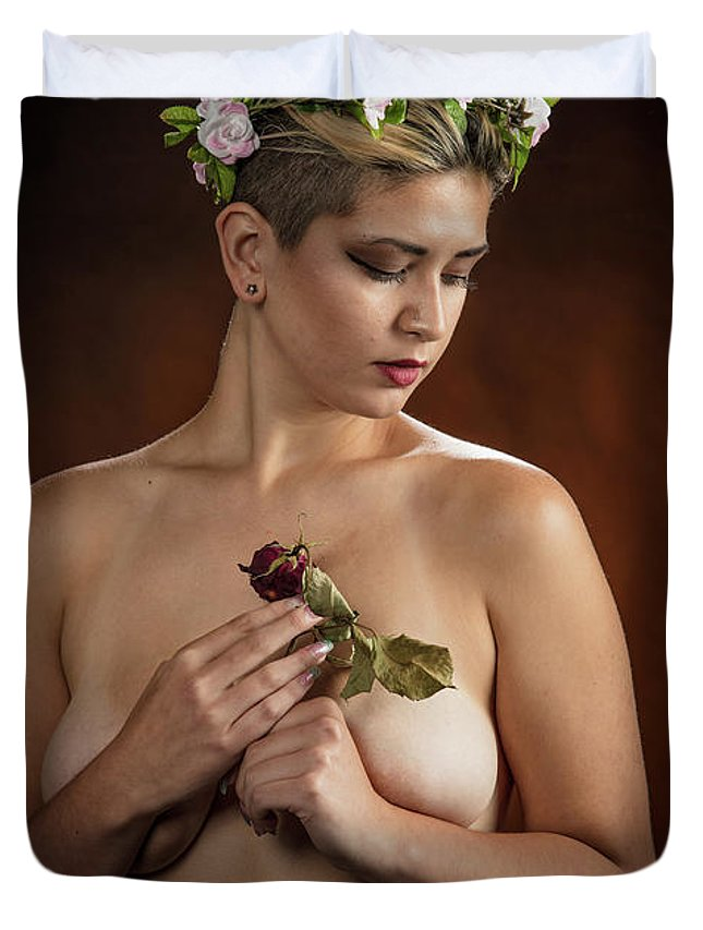 Nude Duvet Cover featuring the photograph Young Woman Nude 1729.177 by Kendree Miller