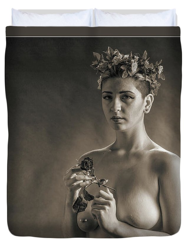 Nude Duvet Cover featuring the photograph Young Woman Nude 1729.553 by Kendree Miller