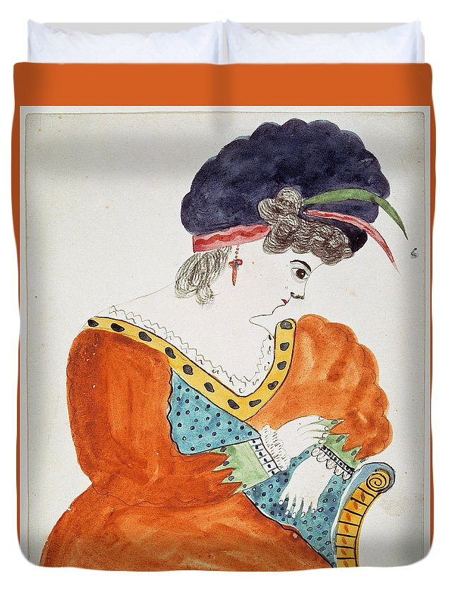 Mary Ann Willson Duvet Cover featuring the drawing Young Woman Wearing A Turban by Mary Ann Willson