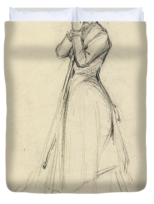 Dennis Miller Bunker Duvet Cover featuring the drawing Young Woman With A Broom by Dennis Miller Bunker
