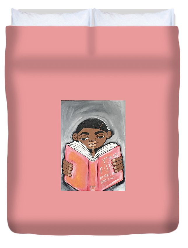 Black Art Duvet Cover featuring the painting Your Future Boy by Deborah Carrie