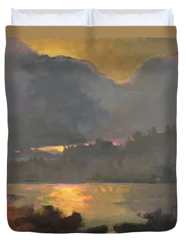 Landscape Duvet Cover featuring the painting Your Home In The Fingerprint Islands by Mary Brooking