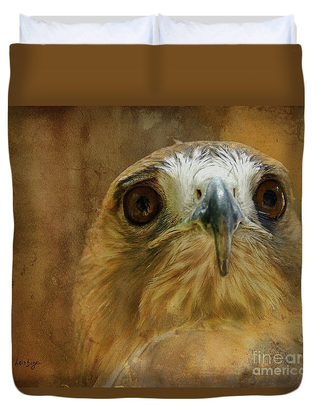 Hawk Duvet Cover featuring the photograph Your Majesty by Lois Bryan