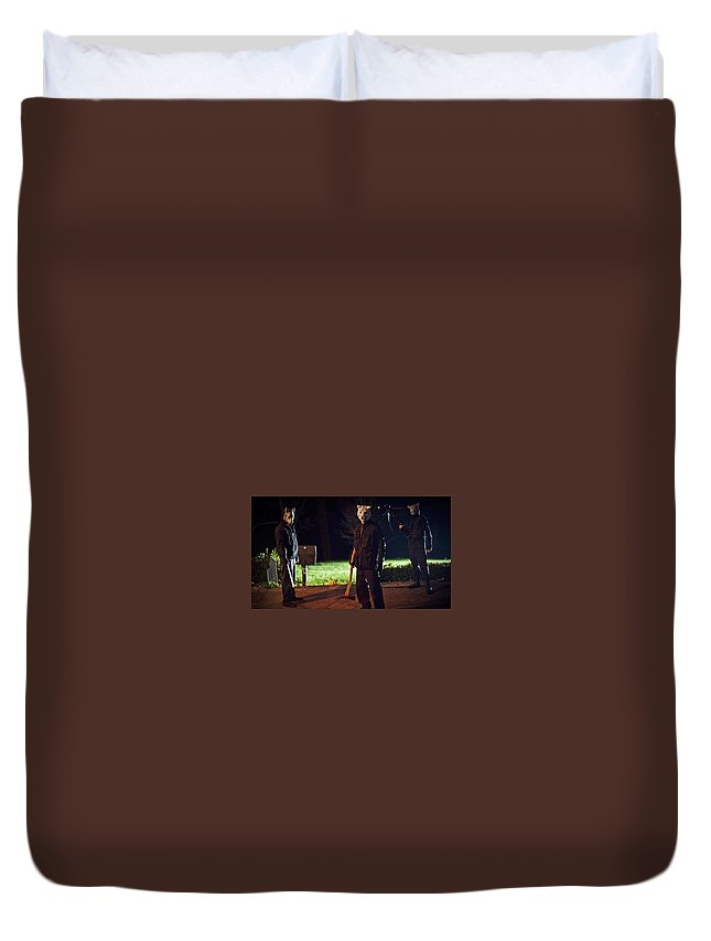 You're Next Duvet Cover featuring the digital art You're Next by Dorothy Binder