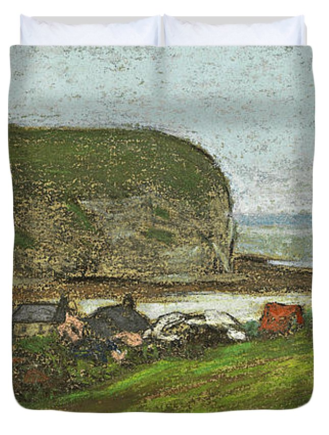 Claude Monet Duvet Cover featuring the drawing Yport And The Falaise D'aval by Claude Monet