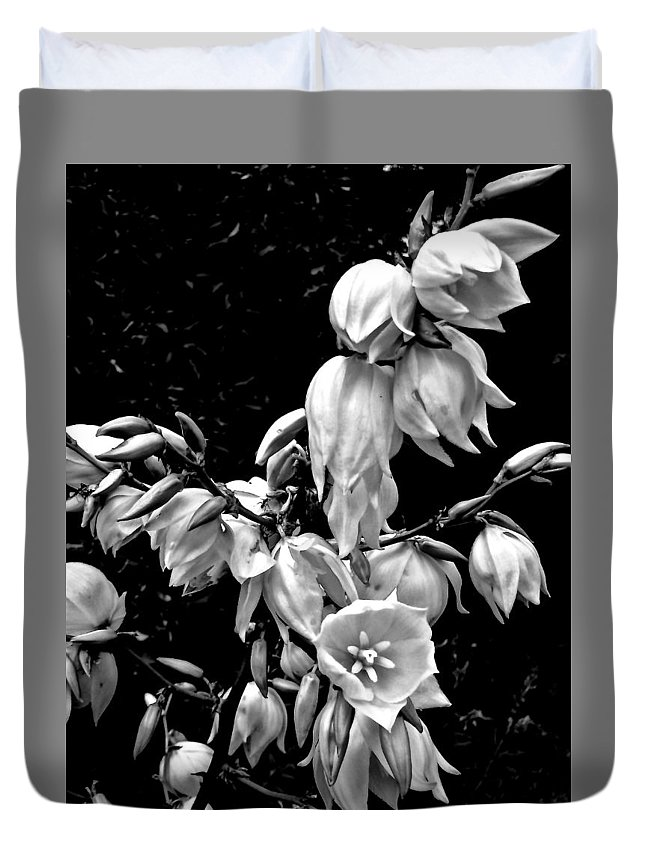 Yucca Plant Duvet Cover featuring the photograph Yucca Blossoms by Elizabeth Tillar