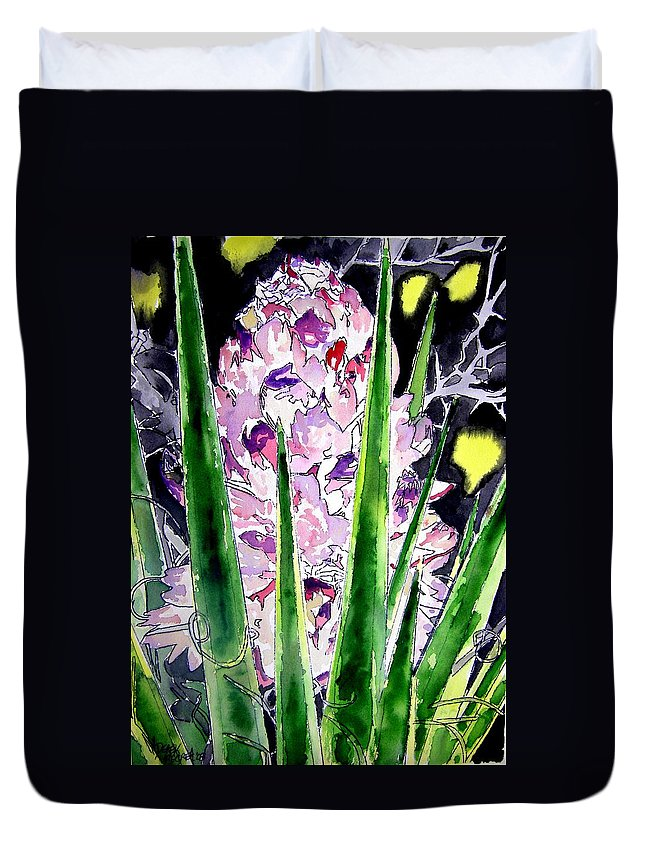 Flower Duvet Cover featuring the painting Yucca Flower Plant Southwestern Art by Derek Mccrea