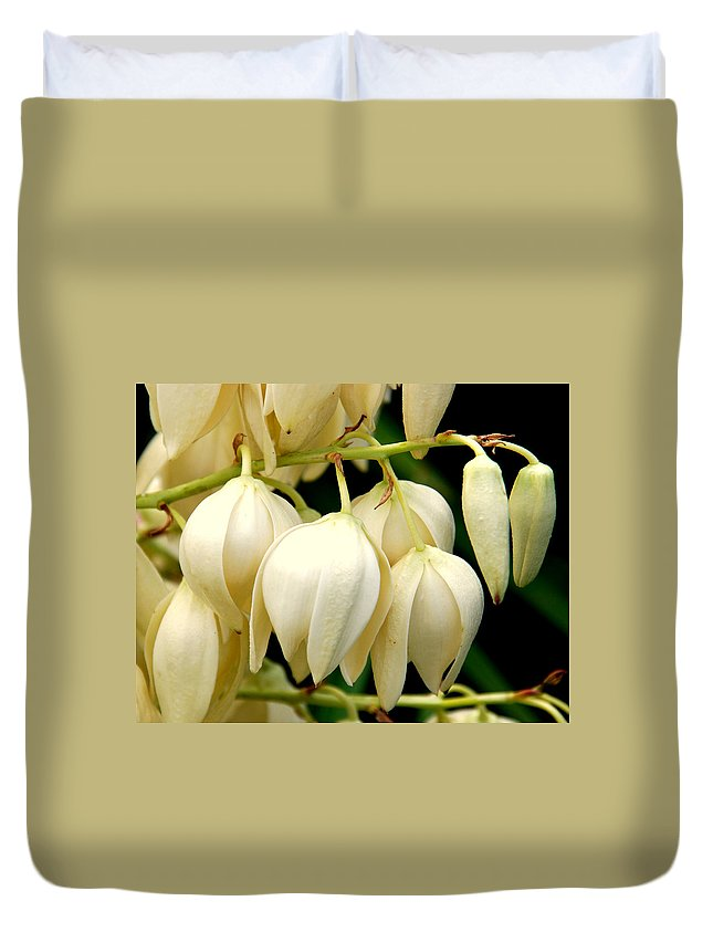 Yuca Duvet Cover featuring the photograph Yucca Flower by Susanne Van Hulst