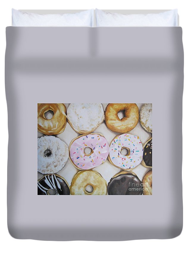 Noewi Duvet Cover featuring the painting Yummy Donuts by Jindra Noewi