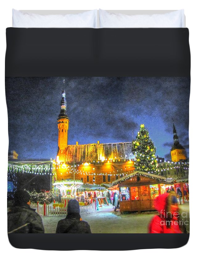 Yury Bashkin Duvet Cover featuring the pyrography Yury Bashkin Tallinn New Year by Yury Bashkin