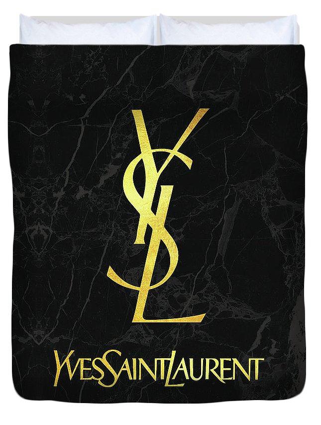 6911860b Yves Saint Laurent Duvet Cover featuring the digital art Yves Saint Laurent  - Ysl - Black