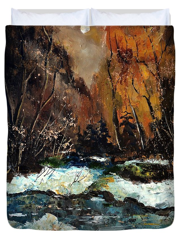 Landscape Duvet Cover featuring the painting Ywoigne river 4561 by Pol Ledent