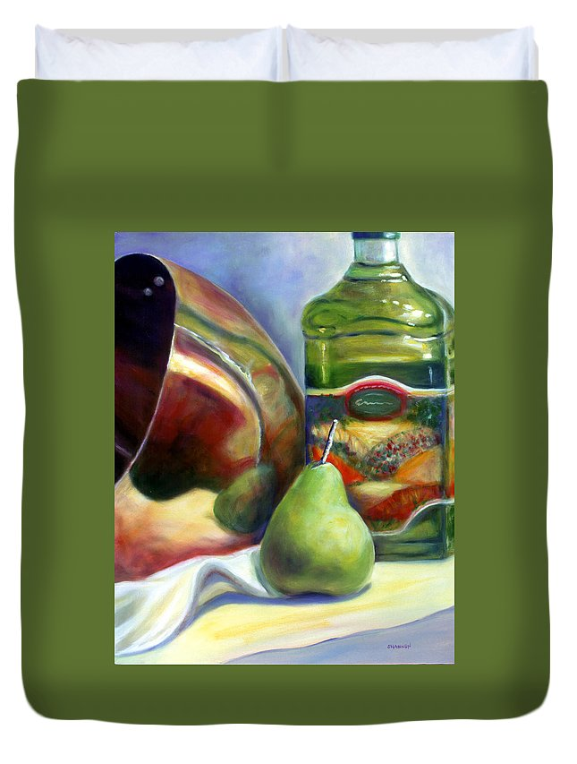 Copper Vessel Duvet Cover featuring the painting Zabaglione Pan by Shannon Grissom